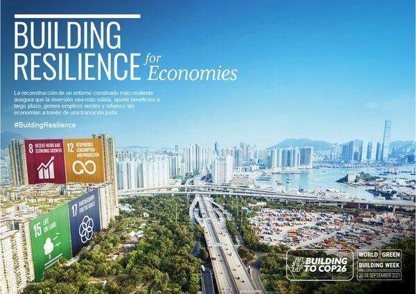 cartel de la semana mundial de la edificación sostenible 2021 para economías
