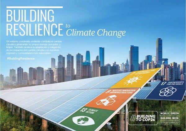 cartel de la semana mundial de la edificación sostenible 2021 para el cambio climático