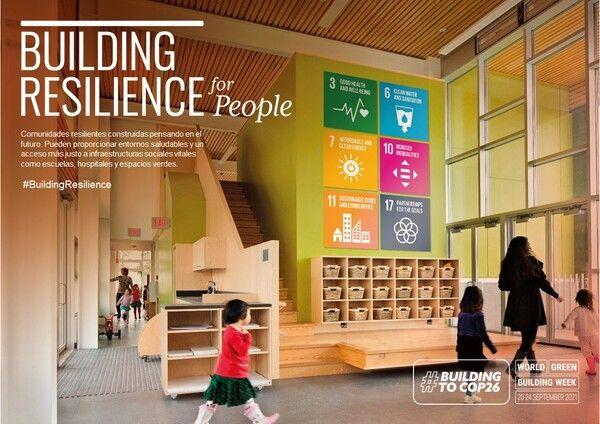 cartel de la semana mundial de la edificación sostenible 2021 para personas