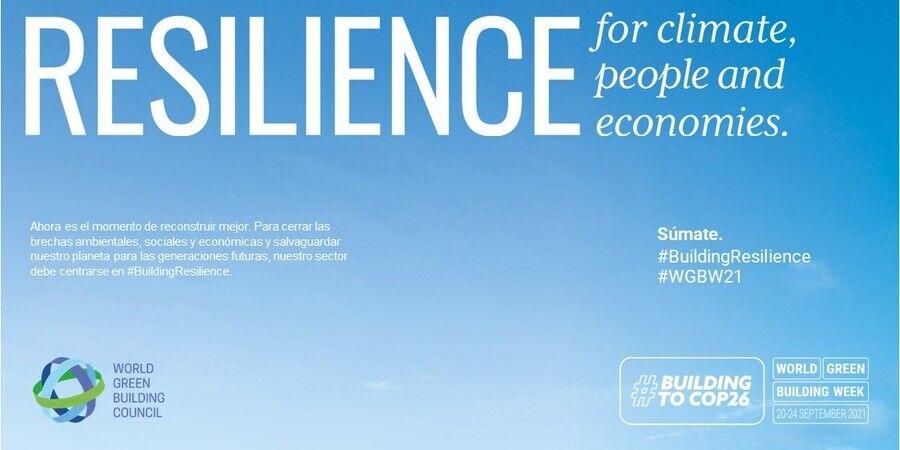 cartel de la semana mundial de la edificación sostenible 2021